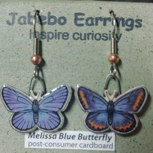 Rare Melissa blue butterfly earings